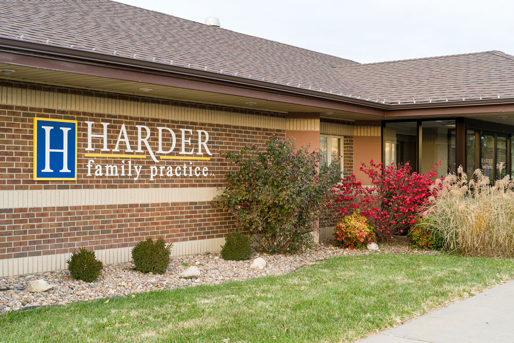 Outside signage for the Harder Family Practice building